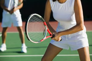 sport fitness mixed doubles tennis players