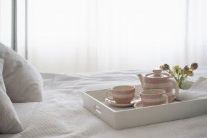 breakfast tea on tray